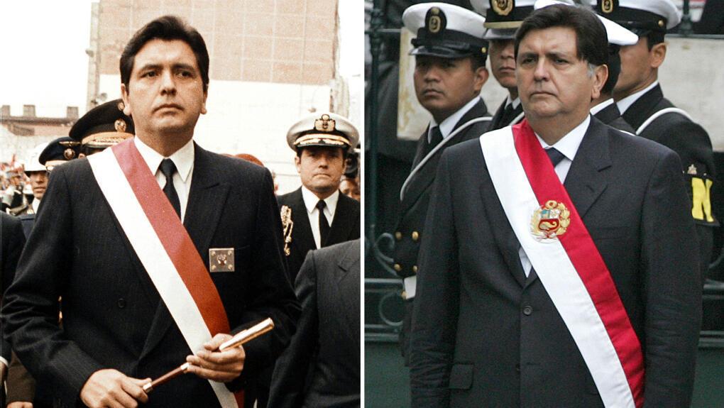 Imágenes de archivo que muestran al presidente peruano Alan García el día que asumió el cargo por primera vez, el 28 de julio de 1985 (izquierda) y durante su segunda investidura, el 28 de julio de 2006, en Lima.