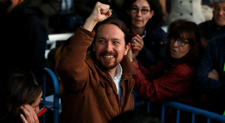 Pablo Iglesias,líder del partido Podemos, asiste a un mitin de cierre de la campaña electoral en Madrid, España,el 26 de abril de 2019.