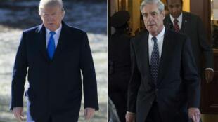 Donald Trump (à gauche) et Robert Mueller (à droite).
