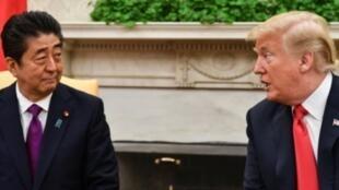 صورة أرشيفية لاجتماع بين الرئيس الأمريكي دونالد ترامب ورئيس الوزراء الياباني شينزو آبي