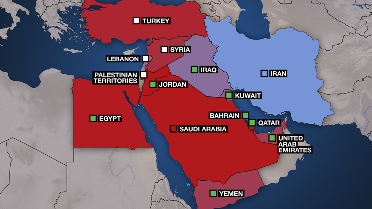 Map: Sunni and Shiite influence in the Middle East