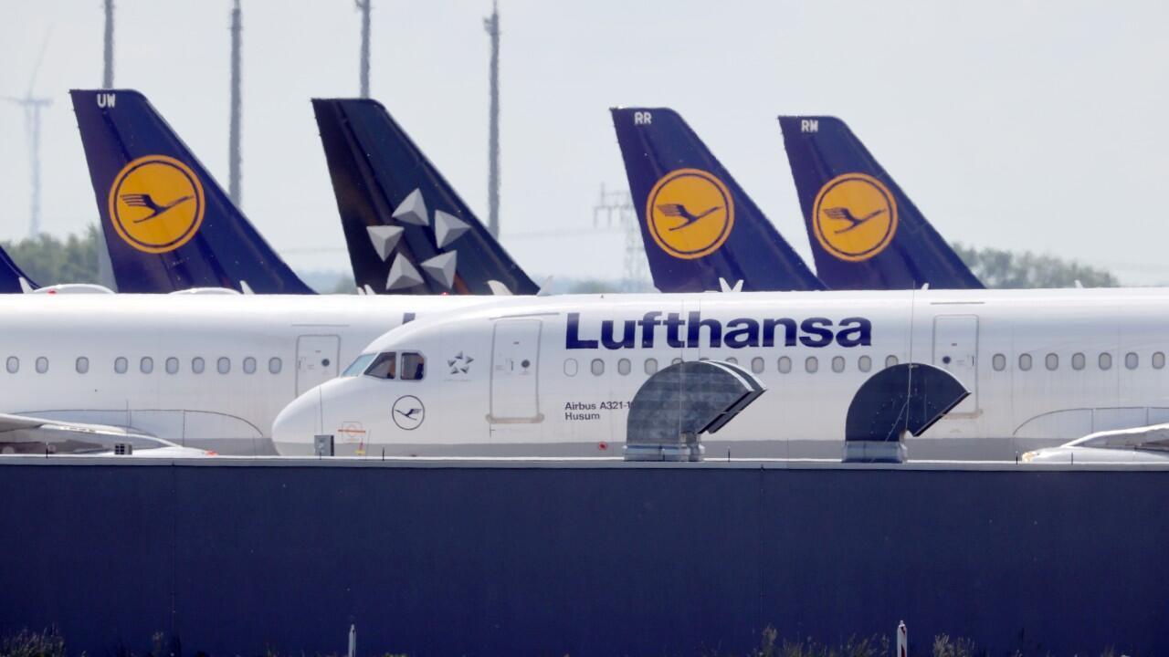 Lufthansa planes parked at  Berlin Schönefeld Airport on May 26, 2020.