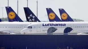 Lufthansa planes parked at  Berlin Schönefeld Airport on May 26, 2020.