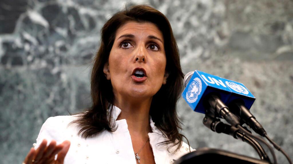 La embajadora de Estados Unidos ante las Naciones Unidas, Nikki Haley, habla en una conferencia de prensa en la sede de la ONU en Nueva York, Nueva York, EE. UU., 20 de julio de 2018.