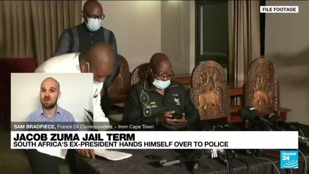 2021-07-08 12:08 South Africa's ex-president Zuma hands himself in to prison