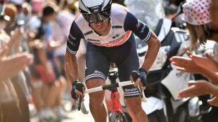 Richie Porte, sous les couleurs de l'équipe Trek, sur le Tour de France à La Planche des Belles Filles, le 19 septembre 2020