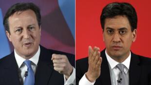 زعيم حزب المحافظين يسارا ديفيد كاميرون ومنافسه إد ميليباند قائد حزب العمال