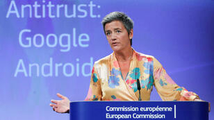 La comisaria europea de Competencia, Margrethe Vestager, durante la conferencia de prensa sobre Google que se llevó a cabo en en Bruselas, Bélgica, el 18 de julio de 2018.