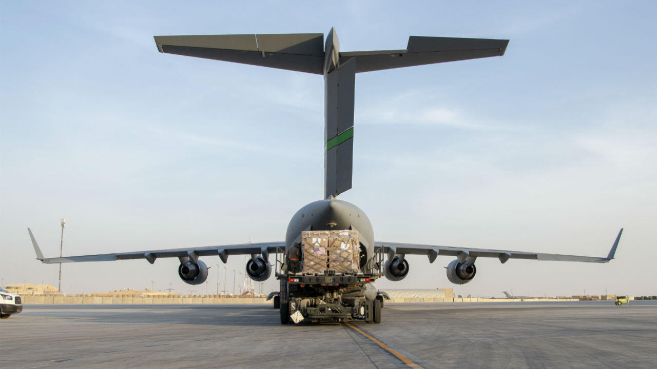 Humanitarian aid bound for Beirut is loaded on an Air Force C-17 Globemaster III at Al-Udeid Air Base in Qatar on August 6, 2020.