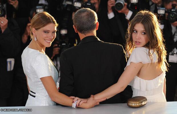 Abdellatif Kechiche, Léa Seydoux et Adèle Exarchopoulos à Cannes.