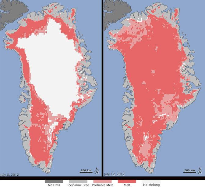 Évolution de la calotte glacière du Groenland (Cliquez pour agrandir)