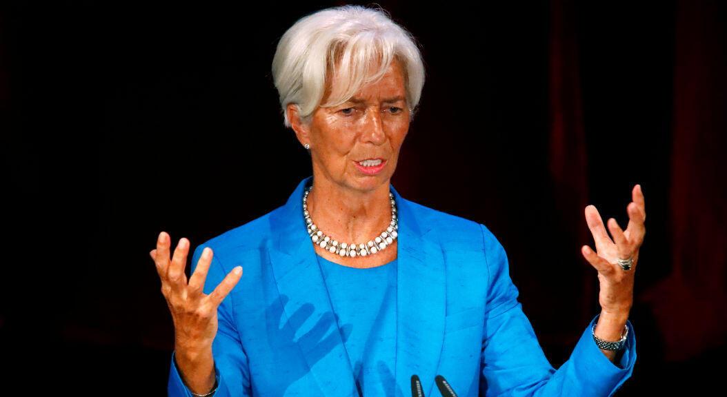 La directora del Fondo Monetario Internacional, Christine Lagarde, en rueda de prensa, en Leipzig, Alemania, el 31 de agosto de 2019.