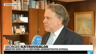 """Georges Katrougalos, ministre Syriza du gouvernement Tsipras, soutient le """"non"""" au référendum du 5 juillet."""