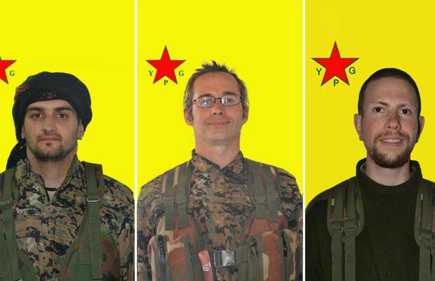 Image de propagande du YPG des trois Européens, dont le Français Olivier Le Clainche (au milieu), tués à Afrin au combat aux côtés des Kurdes.