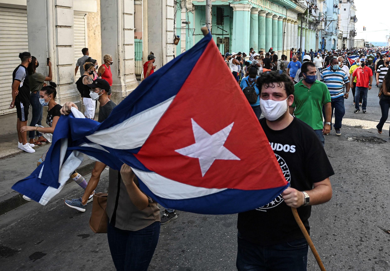 جانب من التظاهرات المعارضة للحكومة الكوبية في 11 تموز/يوليو في هافانا