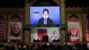 """Lors d'une allocution télévisée, le leader du Hezbollah libanais a appelé l'Irak à mettre fin à """"l'occupation américaine""""."""