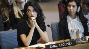 La Nobel de la Paix 2018 yazidie Nadia Murad et Amal Clooney au Conseil de sécurité des Nations unies, réuni le 23 avril 2019 à New York.