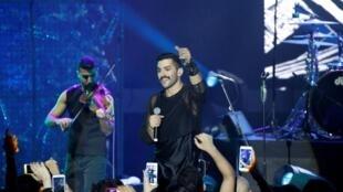 فرقة مشروع ليلى خلال إحدى حفلاتها في لبنان في 12 أغسطس/آب 2017