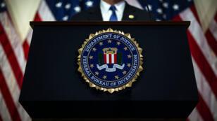 Christopher Wray, le directeur du FBI, durant une conférence de presse en juin 2018.