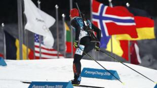 El alemán Arnd Peiffer compite en los 10 kilómetros de biatlón en Pyeongchang, el 11 de febrero de 2018.