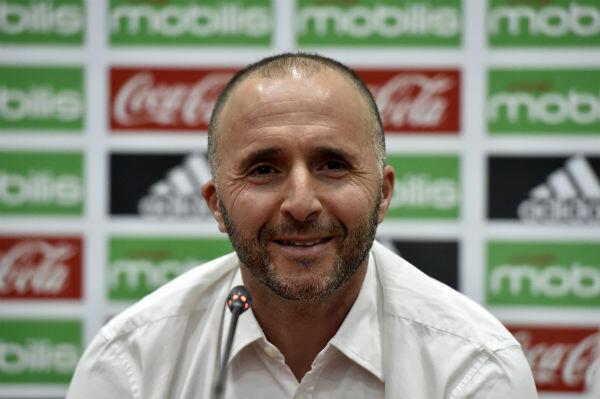 L'entraîneur des Fennecs, Djamel Belmadi lors d'une conférence de presse en août 2018.