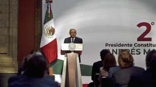 El presidente mexicano, Andrés Manuel López Obrador, en el Palacio Nacional de la Ciudad de México el 1 de septiembre de 2020