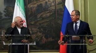 Zarif (L) and Lavrov discussed developments around the nuclear deal