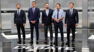 Los principales candidatos de las elecciones generales de España durante el debate del 4 de noviembre. De izquierda a derecha: Pablo Casado (PP), Pedro Sánchez (PSOE), Santiago Abascal (Vox), Pablo Iglesias (Unidas Podemos) y Albert Rivera (Ciudadanos).