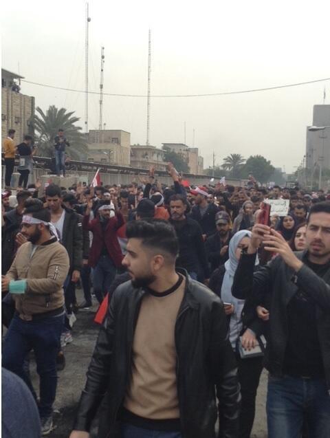 مسيرة احتجاجية للطلاب من وزارة التعليم إلى ساحة التحرير للمطالبة بتحسين ظروفهم الجامعية. 19 يناير 2020.