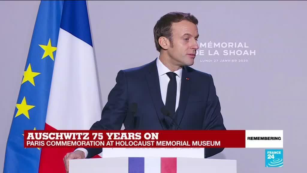"""2020-01-27 12:04 """"We must never heal the wounds of the Holocaust,"""" says Macron"""