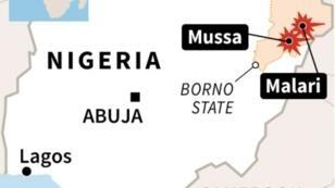Map of Nigeria locating Boko Haram attacks in Borno State