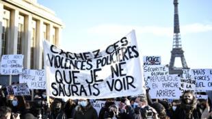 """Manifestation contre la proposition de loi """"sécurité globale"""", le 21 novembre 2020 à Paris"""