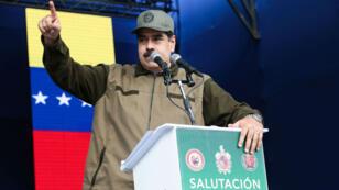 Le président du Venezuela, Nicolas Maduro, lors d'un discours durant une cérémonie militaire à Caracas, le 28décembre2018.