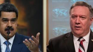 El secretario estadounidense de Estado, Mike Pompeo (der), ofreció USD 15 millones por datos que lleven a la captura del presidente de Venezuela, Nicolás Maduro (izq)