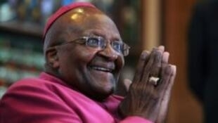 Archbishop Desmond Tutu at a press conference in Cape Town in April 2014.