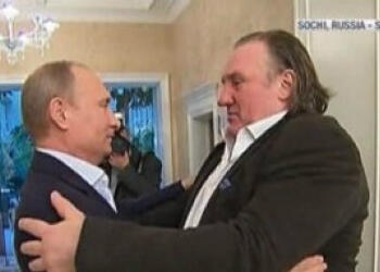 Gérard Depardieu and Russian president Vladimir Putin in 2013