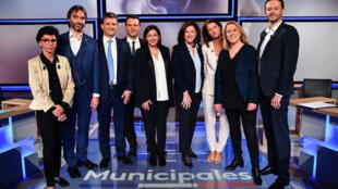 Sept candidats engagés dans la course à la mairie de Paris, mardi 10 mars.