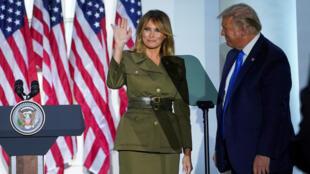 Desde la Casa Blanca, la primera dama Melania Trump ofreció el discurso de cierre del segundo día de la Convención Nacional Republicana, el 25 de agosto de 2020, evento con el que se oficializa la candidatura de Donald Trump a las presidenciales de Estados Unidos en noviembre.