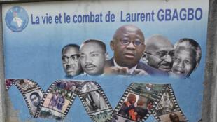 Une affiche du Front populaire ivoirien, parti fondé par Laurent Ggagbo.