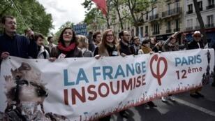 أنصار اليسار الراديكالي في مسيرة بمناسبة عيد العمال - باريس 1 ايار/مايو 2017