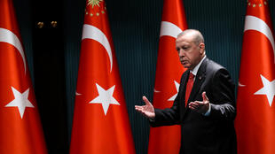 Turkish President Recep Tayyip Erdogan arriving to give a speech in the capital Ankara, June 9, 2020.