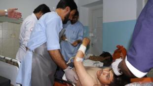Une victime afghane reçue à l'hôpital à Kaboul, le 5 septembre 2018.
