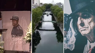 From left to right: A George Floyd memorial, the Canal-Saint-Martin in Paris, and rock legend Alice Cooper.