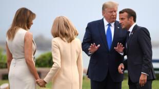 El presidente de Francia, Emmanuel Macron, recibe en Biarritz a su homólogo estadounidense, Donald Trump. 24 de agosto de 2019.