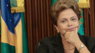 La présidente brésilienne Dilma Rousseff lors d'une conférence de presse à Brasilia, le 9 février 2015.