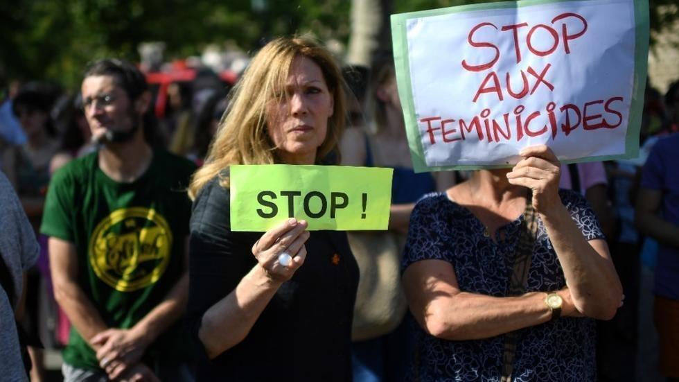 نساء يتظاهرن ضد العنف الزوجي، 6 يوليو/تموز 2019.