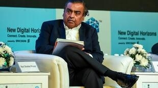 El magnate indio Mukesh Ambani, el 25 d eoctubre de 2018 en el India Mobile Congress, en Nueva Delhi