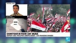 2020-01-24 11:04 Contestation en Irak : Le départ des troupes américaines rassemble des milliers d'irakiens dans les rues