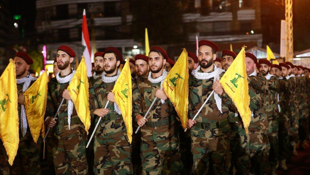 Combatientes libaneses de Hezbolá el 31 de mayo de 2019 en Beirut