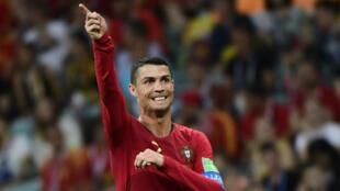 Cristiano Ronaldo a marqué par trois fois contre l'Espagne, à Sochi, le 15 juin 2018.